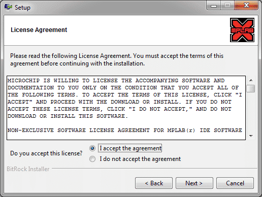 MPLab Install - License Agreement