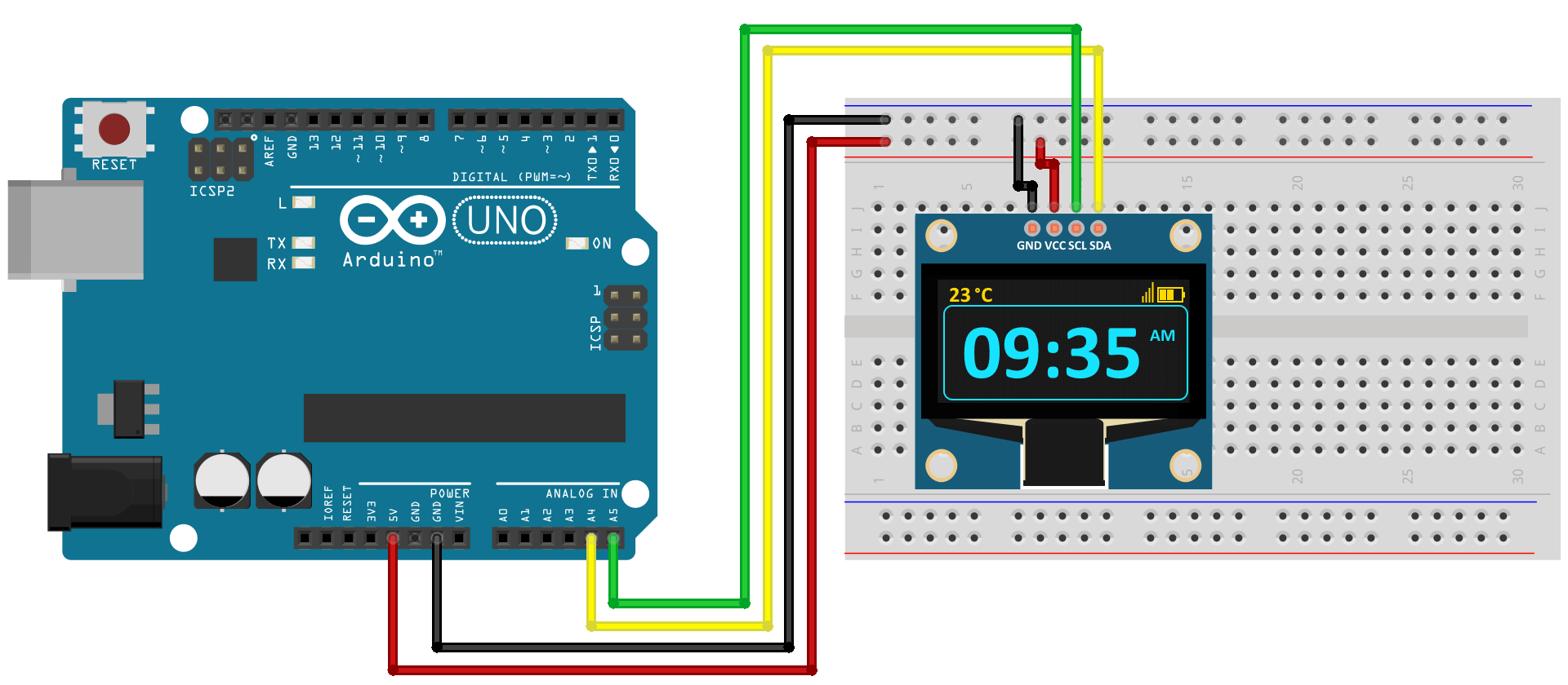 Circuito Arduino e Display Oled