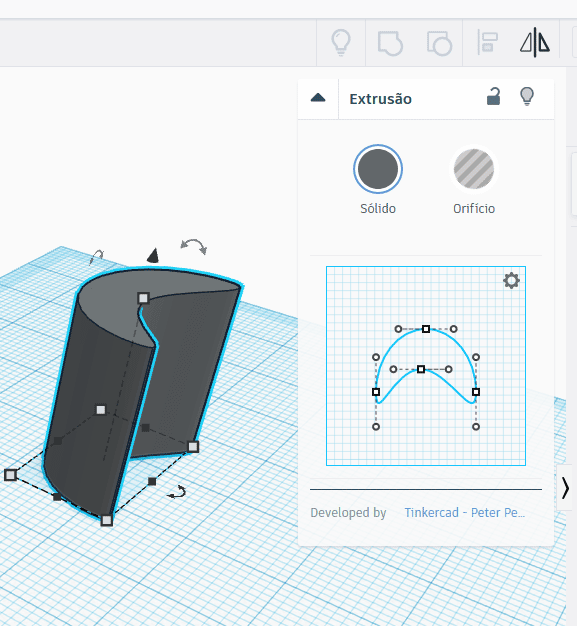 Extrusão no Tinkercad
